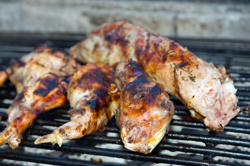 Whole Grilled BBQ Rabbit