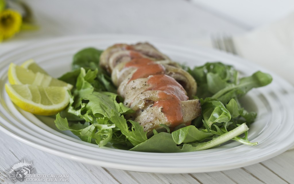 Bacon Wrapped Rabbit with Greens